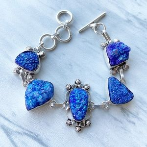 925 Sterling silver blue druzy quartz bracelet